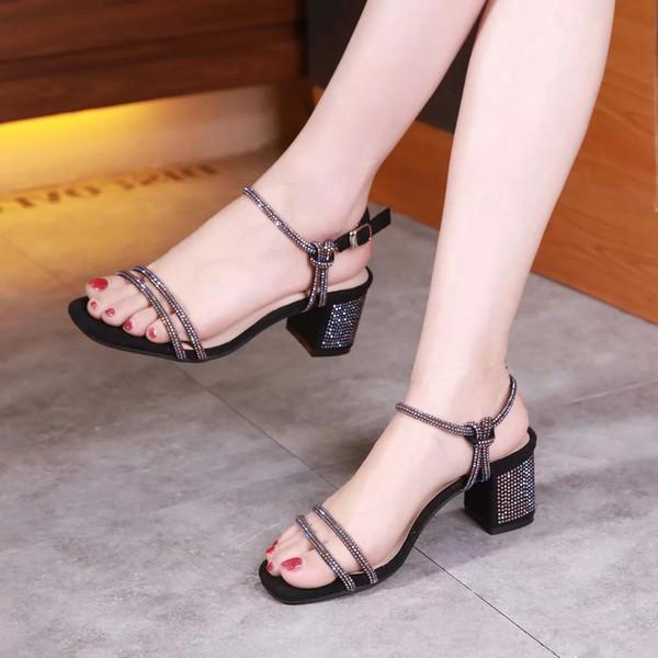 Sandalias clásicas Sandalias de señora para mujer Lentejuelas de metal Hebilla de metal de gran tamaño Zapatos de cuero de tacón alto para mujer 7ghh