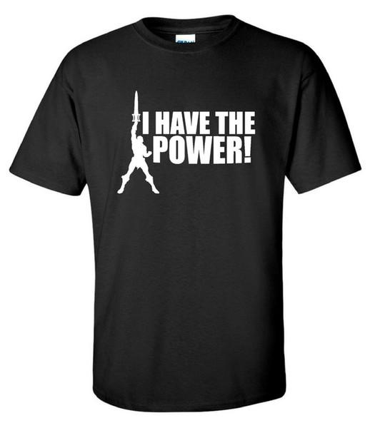 Tengo el poder He-Man 80 s Retro Cartoon Mens T-Shirt Hombres Mujeres Unisex Moda camiseta Envío Gratis Divertido Cool Top Tee negro