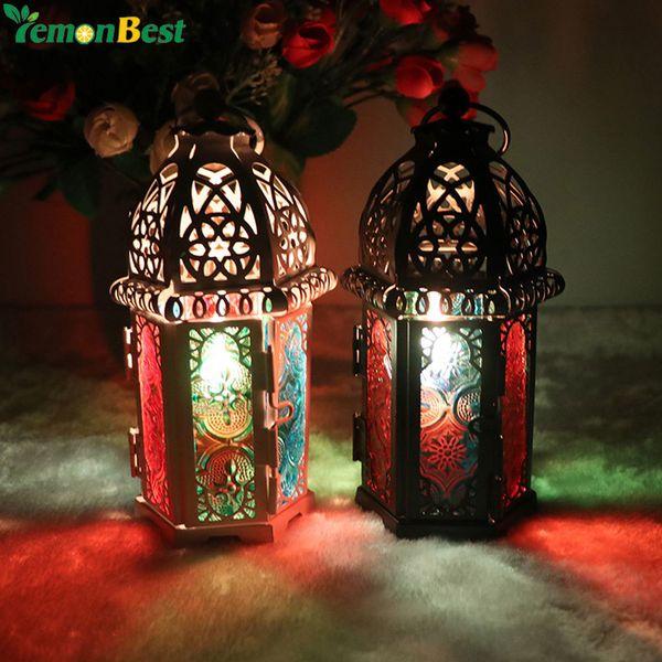 Vintage Moroccan Decor Lanterns Hollow Candlestick Candle Holder Windproof Lantern Candle Holders For Wedding Home Decoration D19011702