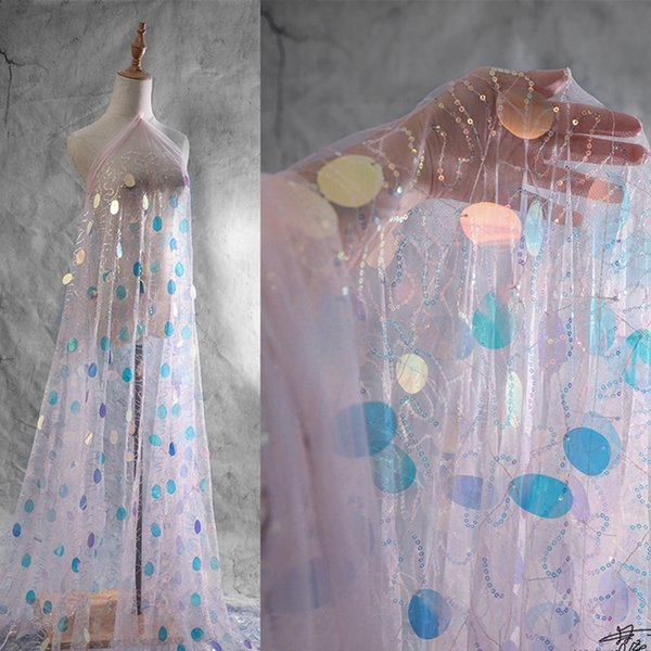 ins designer diy garment fabric laser scales with rainbow teardrop sequin and shiny spot for sbackground wedding deco