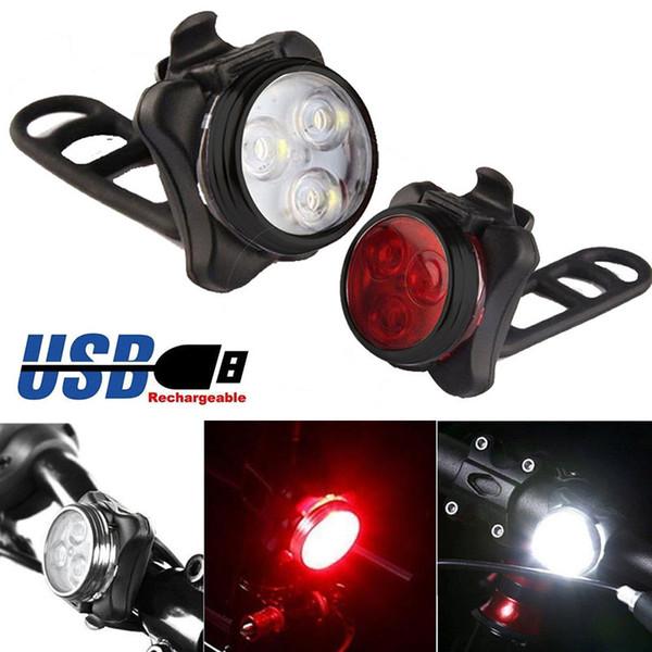USB recargable de bicicletas luz caliente brillante bicicleta de la bici 3 del cabezal del LED luz delantera impermeable 4 modos de lámpara de cola Clip