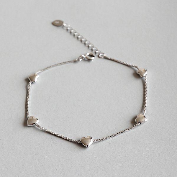 Kadınlar Düğün Pulseira Feminina için 925 Gümüş Kutu Zincir Bileklik 16cm Linkler Zincir Kalp Charms Bilezik Bilezik