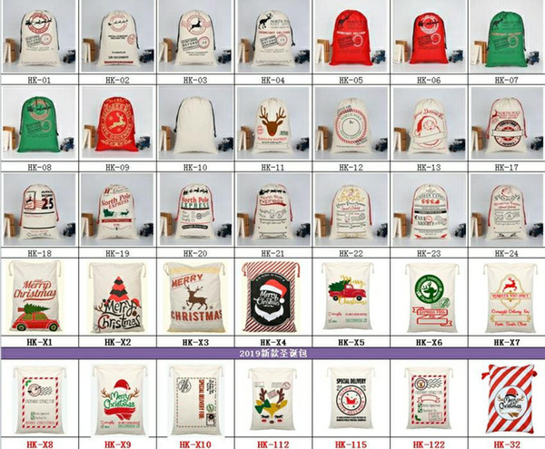 best selling 2019 New Year Christmas Party Gift Bags Large Cotton Bag 50*70cm Size Beige Monogrammable Santa Claus Sacks Gift Bag With reindeers