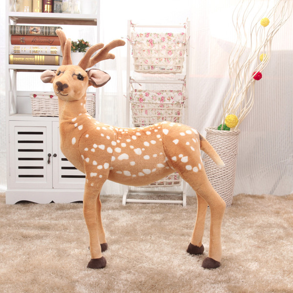 100cm Standing elk giraffe Sika deer with angle Simulated Animals model Kids mount Christmas decoration Plush Children toys gift