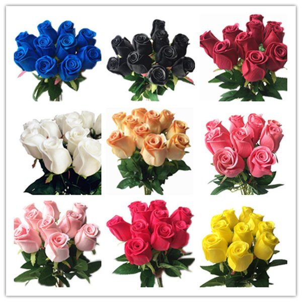 Real Touch Roses Black Pink Blue Rose Red White Yellow Purple Pu Rose For Wedding Party Artificial Decorative Flower 14 Colors J190711
