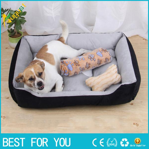 2018 Nueva cama de perro acolchada de pana caliente Lavable Pet House Mat Perros Sofá suave Perrera Perros Gatos Casa para perros grandes
