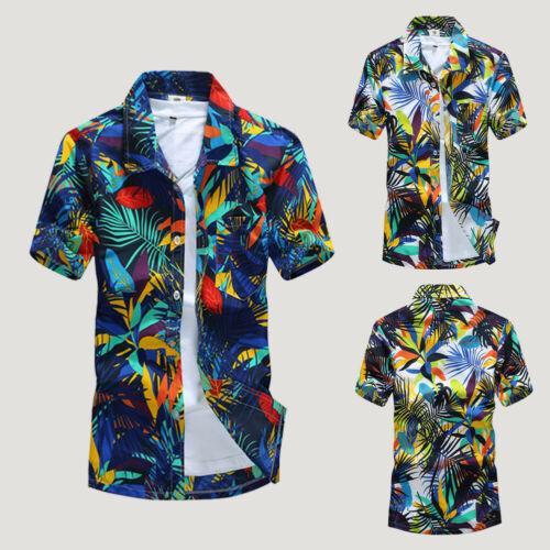Camicia da uomo con stampa floreale Camicia casual manica corta 2019 New Summer Hawaiian Aloha Beach Camicia tropicale Camicie da spiaggia M-4XL