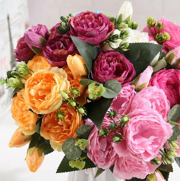 Yapay Çiçekler İpek Gül Buketi Sahte Şakayık 5 Büyük Baş ve 4 Tomurcuk Düğün Dekoratif Çiçekler Parti Dekor 7 Renkler YW3288