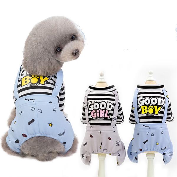 Pet Köpek Giysileri mektup IYI ÇOCUK KıZ Tulumlar Çizgili Küçük Köpek Tulum Köpek Tulum Yaz Pet Malzemeleri Çizgili palto FFA2175