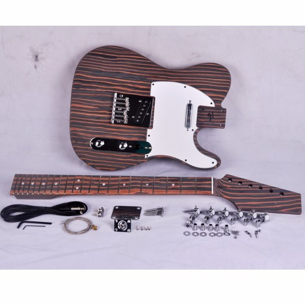 Kit de guitarra eléctrica DIY Zebrawood Body and Neck TL Style