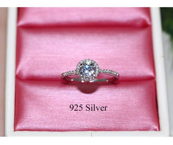 Anillo de compromiso de diamantes linda de plata 925 joyería de los anillos de boda de la vendimia para las mujeres
