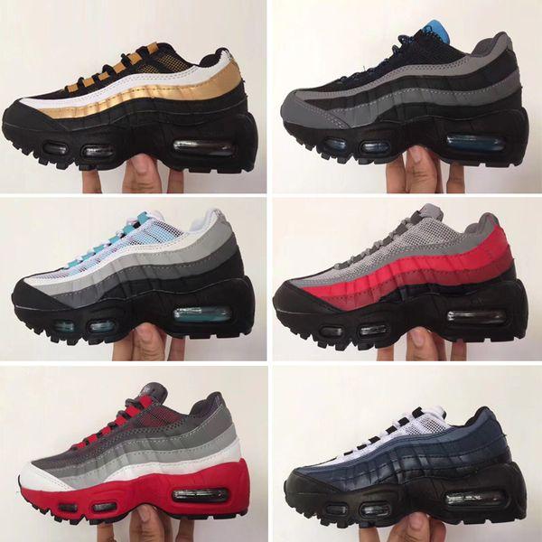Großhandel Nike Air Max 95 2019 Hochwertige Schuhe Kinder Sportschuhe Kinder Jungen Und Mädchen Basketballschuhe Kind Huarache Legend Blue Designer