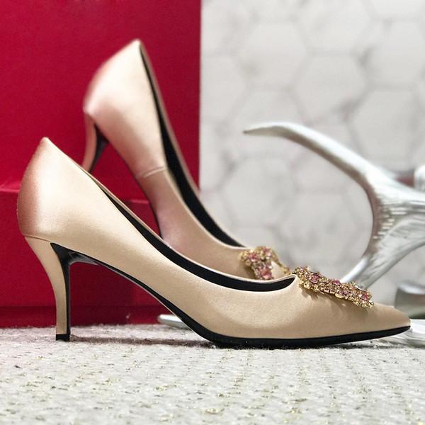 Rote hohe Absätze der Schuhe der Qualitätsfrauen reizvolle spitze Sohlenrhinestones flache Spitzeelogo-Staubbeutel-Hochzeitsschuhe mit ursprünglichem Kasten qy
