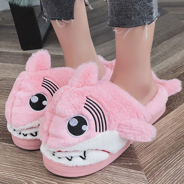 Winter Super Animal Funny Shoes For Women Warm Soft Bottom Home House Slippers Indoor Floor Shark Shape Furry Slippers Fur Shoes