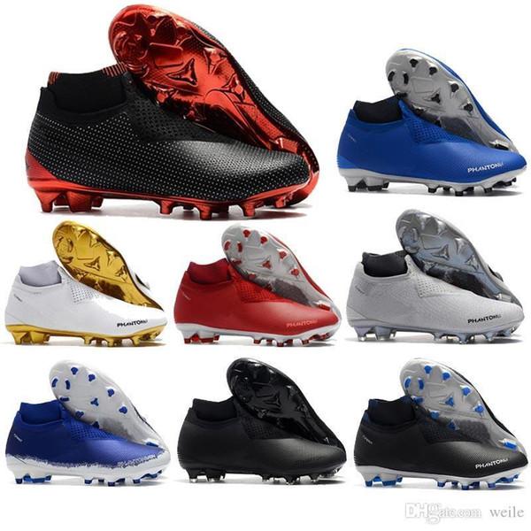 New Phantom Vision Elite DF FG Soccer Cleats For Men Soccer Shoes Mens Socks Laceless Phantom VSN High Ankle Football Boots Size 39-45