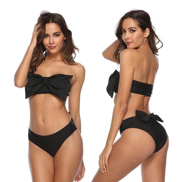 Women Strapless Solid Bow Two Piece Bikini Black Beach, Swimming Pool Summer Set High waist Swimwear Padded