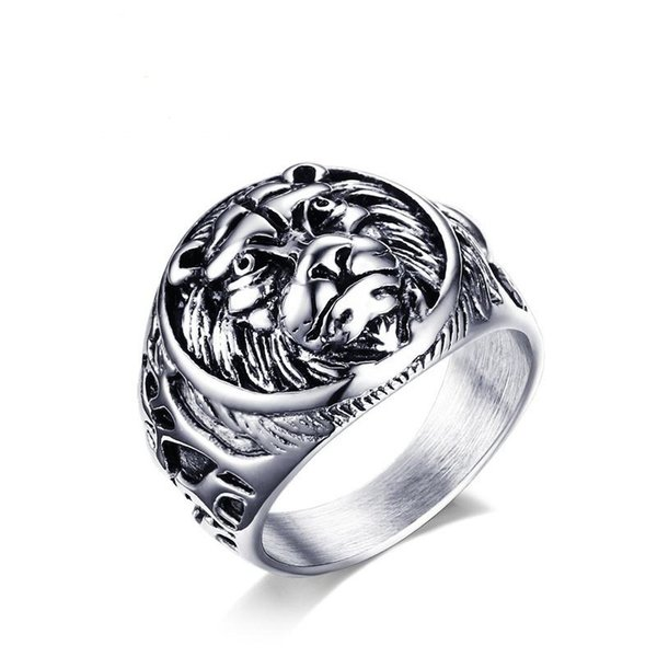 steel color color fashion simple men's rings stainless steel lion ring jewelry gift for boys men j367