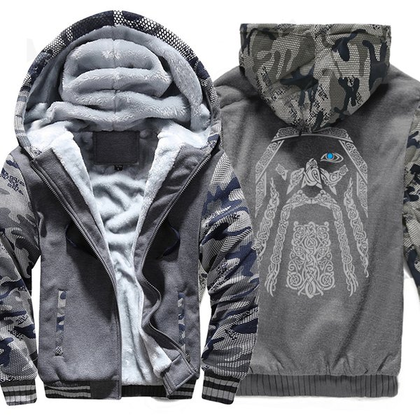 winter sweatshirt raglan print jacket tracksuit Odin Vikings hoodies for men 2019 new fashion wool liner Camouflage sleeve coats V191108