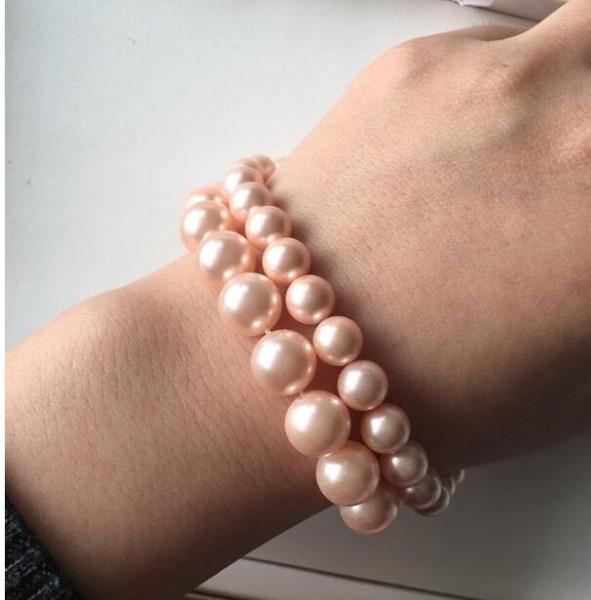 FREE SHIPPING + + Natural deep sea powder shell bracelet pearl shell