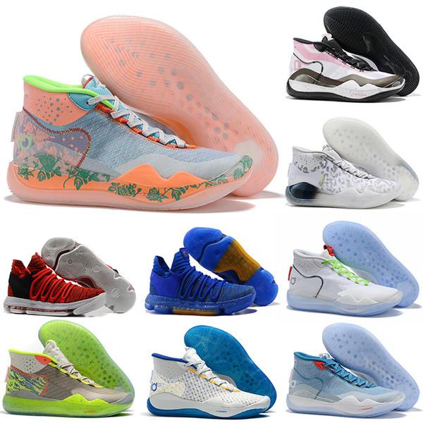 2020 neue EYBL Kevin Durant KD Männer Basketball Schuhe KD 10 12 90er Jahre Kid Oreo Multi-Color Herren Trainer Sport Turnschuhe 7-12