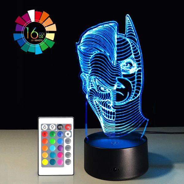 40piece lot 3D Optical Illusion Night Light 16 Color Changing Lamp - Cool Soft Light Safe For Kids DC Comics Justice League Batman and Joker