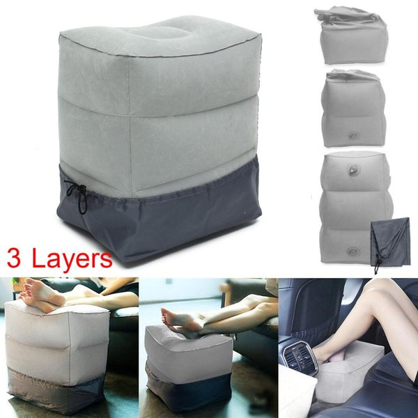 Awesome 3 Layers Inflatable Portable Travel Footrest Pillow Plane Train Kids Bed Foot Rest Pad Outdoor Sofa Replacement Cushions Outdoor Bar Stool Cushions Dailytribune Chair Design For Home Dailytribuneorg