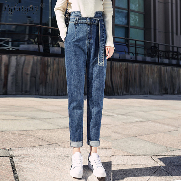 High Waist Belt Casual Loose Jeans 2019 European Style Women Fashion Harem Pants Dark Blue Denim Trousers Spring Lady Jeans New