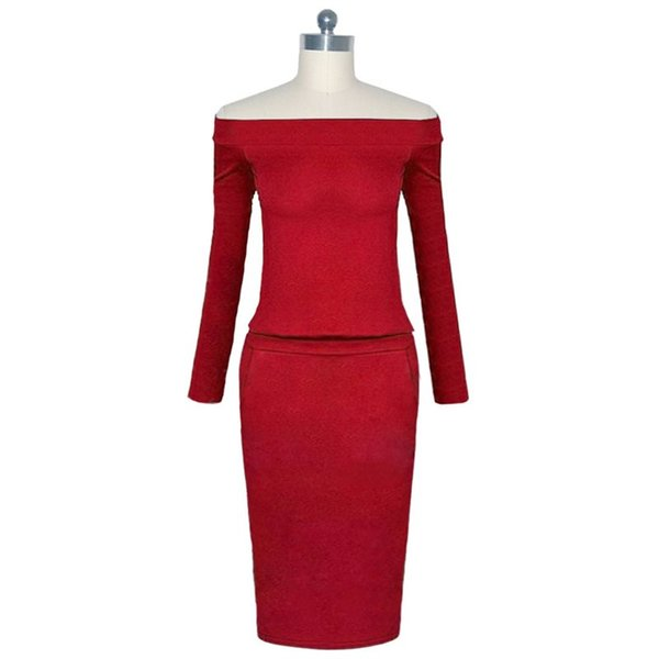 Bodycon Dress Women Blue Elegant Office Simple Spring Fashion Solid Black Elastic Work Wear Ladies Off Shoulder Red Sexy Dresses