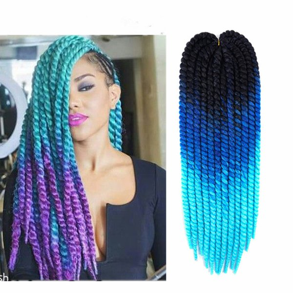 New Arrival 120grams 12strands Synthetic Havana Twist Hair Ombre 3 Tone Color Mambo Twists Crochet Braids Jumbo Braiding Hair Extensions
