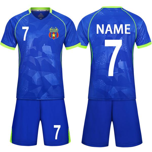 18 Children Football Jerseys Men Boys Soccer Clothes Sets Short Sleeve Kids Football Uniforms Adult Kids Soccer Tracksuit Jersey Q190429