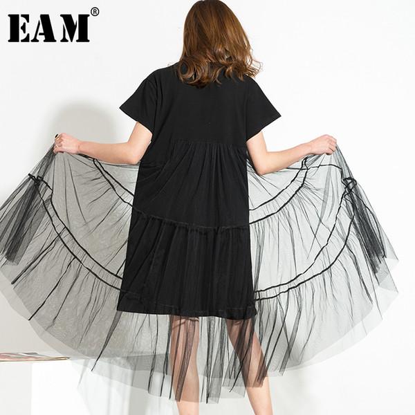 [eam] 2019 frühjahr neue große größe lange große größe net garn gespleißt schwarz oansatz kurzarm sexy mesh dress frau 5xl 3361 j190509