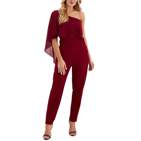 jumpsuits for women 2019 Women Pocket body on one shoulder Short Sleeve Rompers Jumpsuit Long Playsuit romper