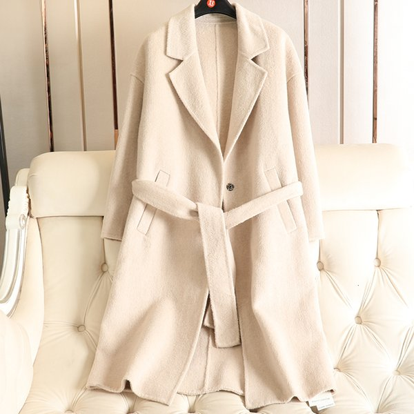 Limited Time Sale New Double-sided Handmade Wool Overcoat Spring 2019 New V-neck Slim Belt Trench Coat For Women Woolen Alpaca T190913