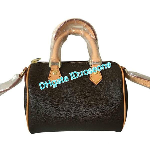Toppest 5AQuality gerçek Deri kadın çantası 61251 yeni eğik çanta moda tutan bir mini Boston yastık kız çanta 41115 Ücretsiz kargo