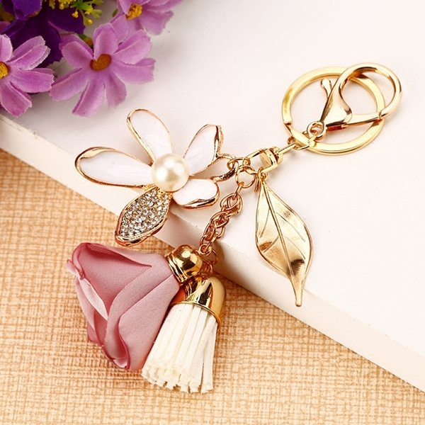 Cloth ring Chiffon tassel car key chains Lady couple bag creative fashion charm flower ornaments keychain C19011001
