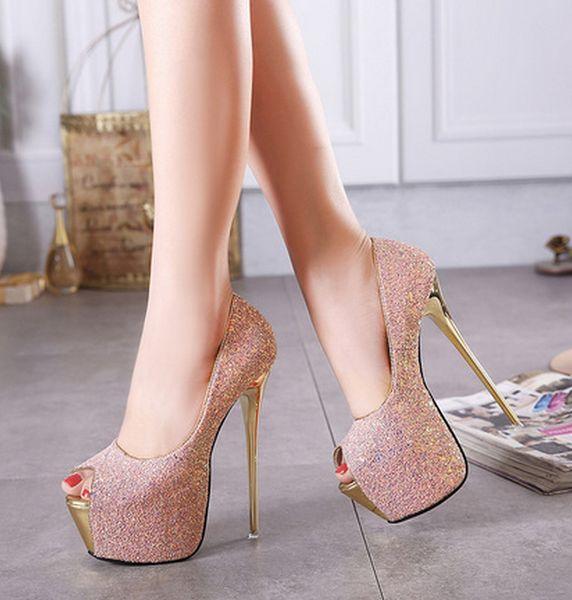 Pink sequins bridal wedding shoes fashion open toe 16cm stiletto heel designer pumps summer platform lady party shoes size 35-40