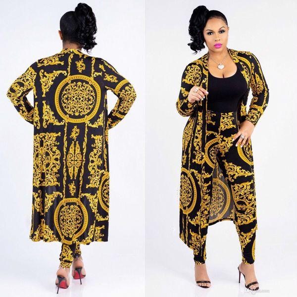 hot Designer New Fashion Classic Black Gold Print Large Size Cloak Sexy Slim Pants Ladies