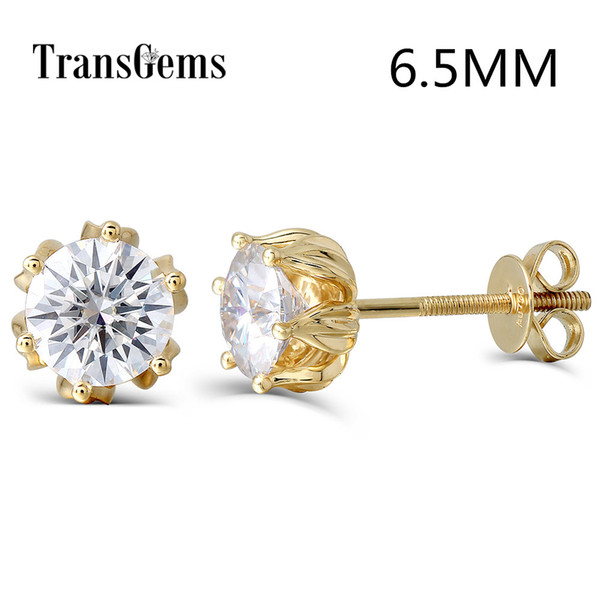 Transgems Flower Shaped 14k 585 Yellow Gold 2ctw 6.5mm Fgh Color Moissanite Diamond Stud Earrings For Women Screw Back For Women Y19061203