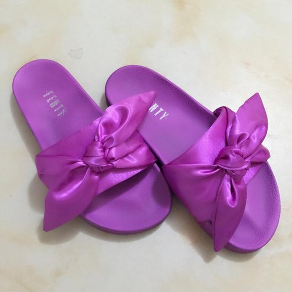 2017 Wholesal Fenty Rihannas Shoes Summer Slippers Women Butterfly Bowties Indoor Sandals High Quality Non-Slip Slide With Box Size 36-41