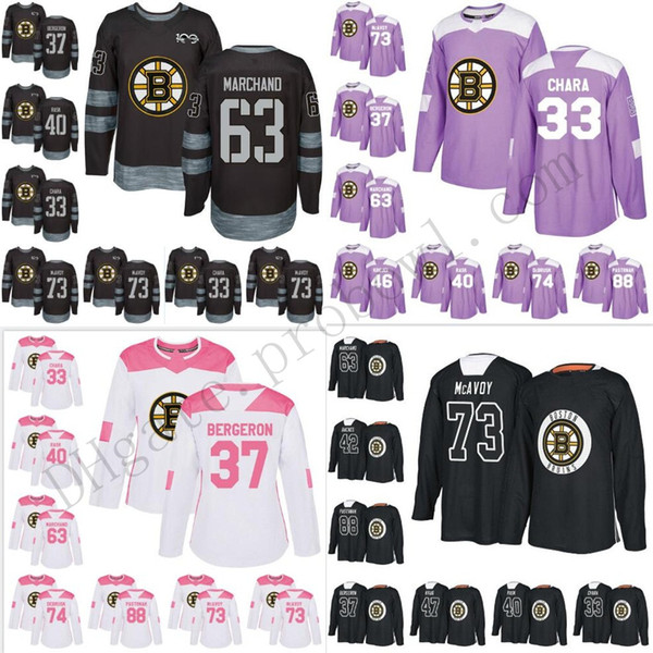low priced 28986 3edff 2019 Custom Boston Bruins 33 Zdeno Chara XS 6XL 37 Patrice 63 Brad Mak 4  Bobby Orr Hockey Jerseys Practice Purple Pink Salute Blank From Probowl, ...