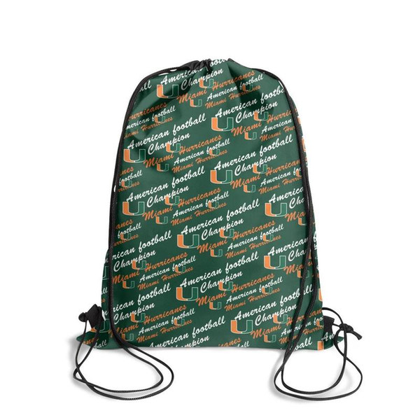 Miami Hurricanes football green logoFashion sports belt backpack, design pop best adjustable string package, suitable for outdoor