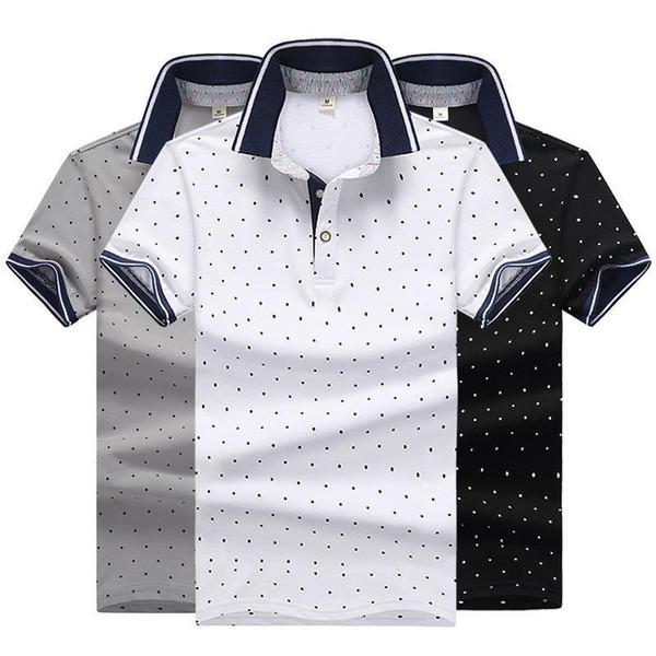 Polo moda uomo tinta unita polo camicie polo casual estate polo uomo high street dot cotone stampato camicie M-4XL