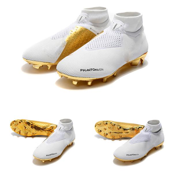 2019 los más nuevos botines de fútbol de oro blanco Ronaldo CR7 Zapatos de fútbol originales Mano de obra exquisita Botas de fútbol Phantom VSN Elite DF FG