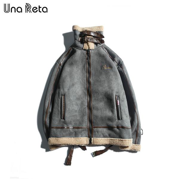 Una Reta Winter jacket coat Mens New warm thick Hip hop motorcycle bikers jacket Overcoat Vintage Men casual Lambs wool coat