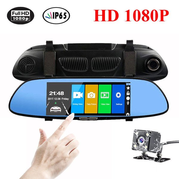 7.0'' Car DVR Full HD 1080P IPS Touch Screen Recorder Camera Dual Lens with Rear View Camera Auto Registrator Dash Cam