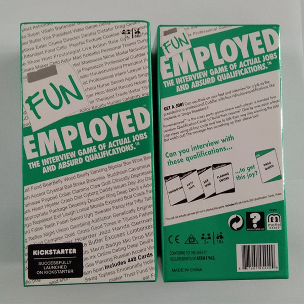 Factory price The Interview Game of Actual Jobs and Absurd Qualifications Fun Employed Card Game Friends Party Family Board Game