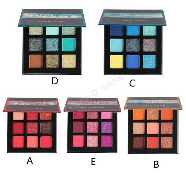 makeup 9 color eyeshadow palette bright pressed powder metal matte eye shadow brand beauty glazed epacked shipping