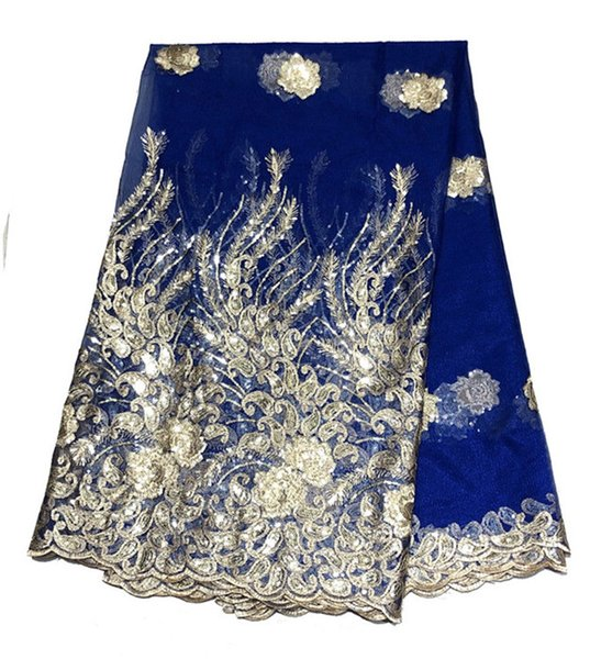 African Lace Fabric 2019 Embroidered Nigerian Laces Fabric High Quality French Tulle Lace Fabric For blue Women Dress 426-35