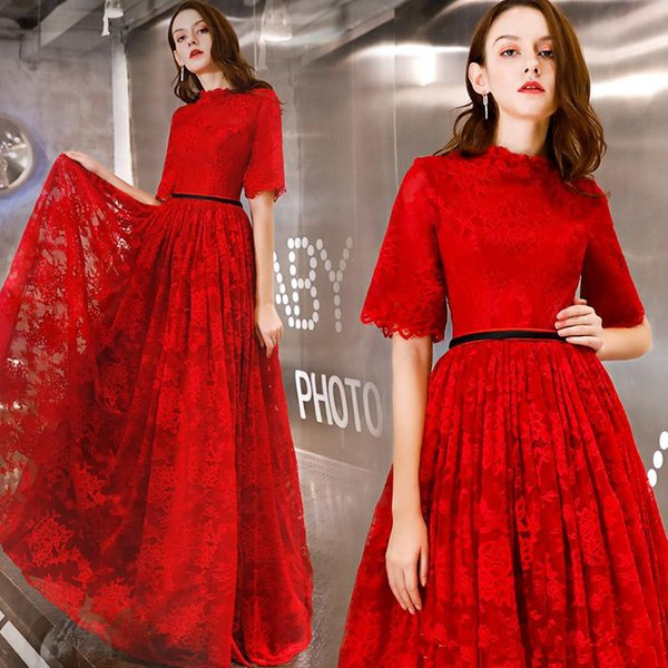 Full Lace Red A Line Long Evening Party Gowns Half Sleeves High Collar Prom Dresses Zipper Back Maid of Honor Dress