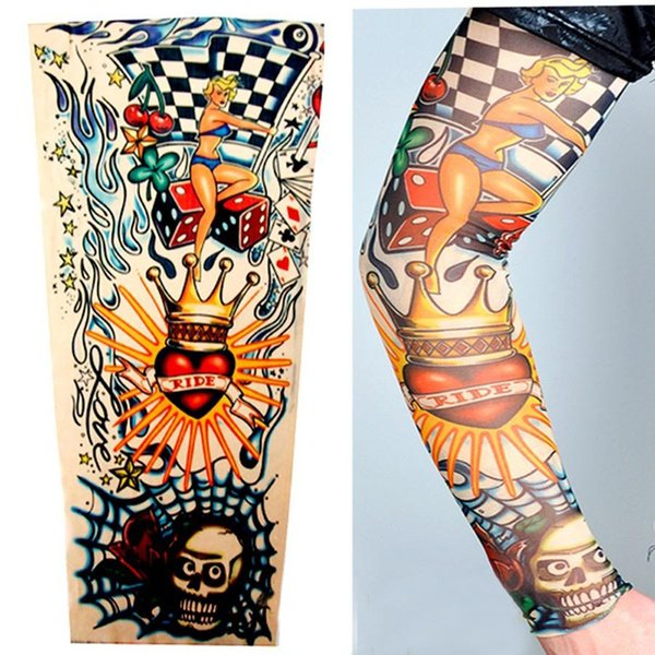Falso Braço de Tatuagem Mangas Compridas Homens Menino Esportes Ao Ar Livre Sem Costura Mangas de Tatuagem De Nylon Impressão Elastic Respirável Skins BH0706 TQQ